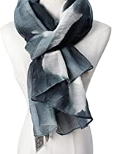 Soft Women's Silk Wool Silk scarf Spring And Summer Shawl Ink Woven Printing Sunscreen shawl protect (Color : Grey)