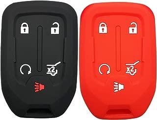 2Pcs Coolbestda Rubber Key Fob Cover Remote Protector Bag Holder for GMC Acadia Terrain Yukon Chevrolet Suburban Tahoe HYQ1AA 13584502 1551A-AA
