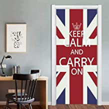 Self Adhesive 3D Door Murals Peel and Stick Removable British London Red Telephone Booth Waterproof Decal Wall Murals 3D Vinyl Wallpaper Stickers for Room Decor Art Poster,Hph3D