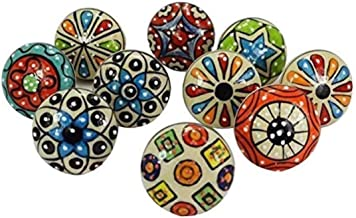 JGARTS 20 Pieces Set Dotted Ceramic Cabinet Colorful Knobs Furniture Handle Drawer Pulls