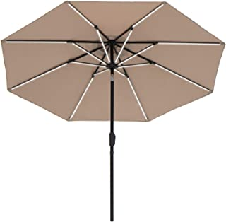SUNBRANO Deluxe Solar Powered LED Strip Lighted Patio Umbrella, 9ft Market Table Umbrella w/Tilt and Crank, 8 Ribs, Taupe