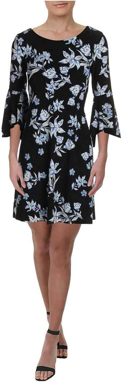 Ralph Lauren Womens Black Floral Bell Sleeve Scoop Neck Short Wear to Work Dress Size 4