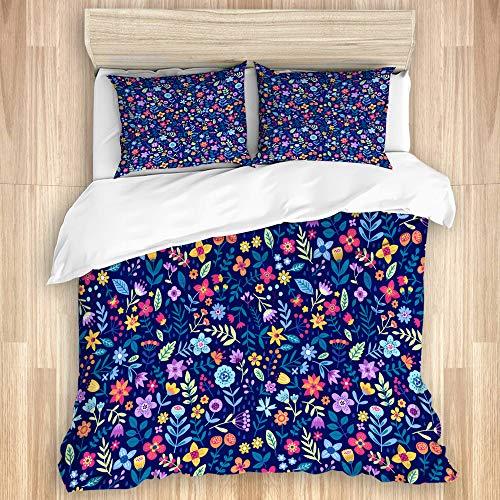 DAHALLAR Decorative Duvet Cover Set,Cute Floral small flower Ditsy Motifs fashion colorful flowers Blue background,Microfibre 135x200 with 2 Pillowcase 50x80,Single