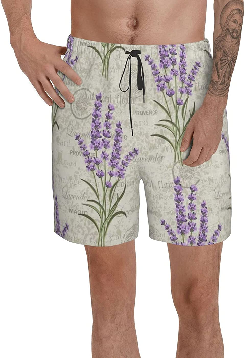 count Retro Lavender Men's 3D Printed Funny Summer Quick Dry Swim Short Board Shorts with