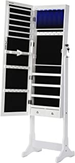 SONGMICS 6 LEDs Jewelry Cabinet Lockable Standing Mirrored Jewelry Armoire Organizer 2 Drawers White UJJC94W