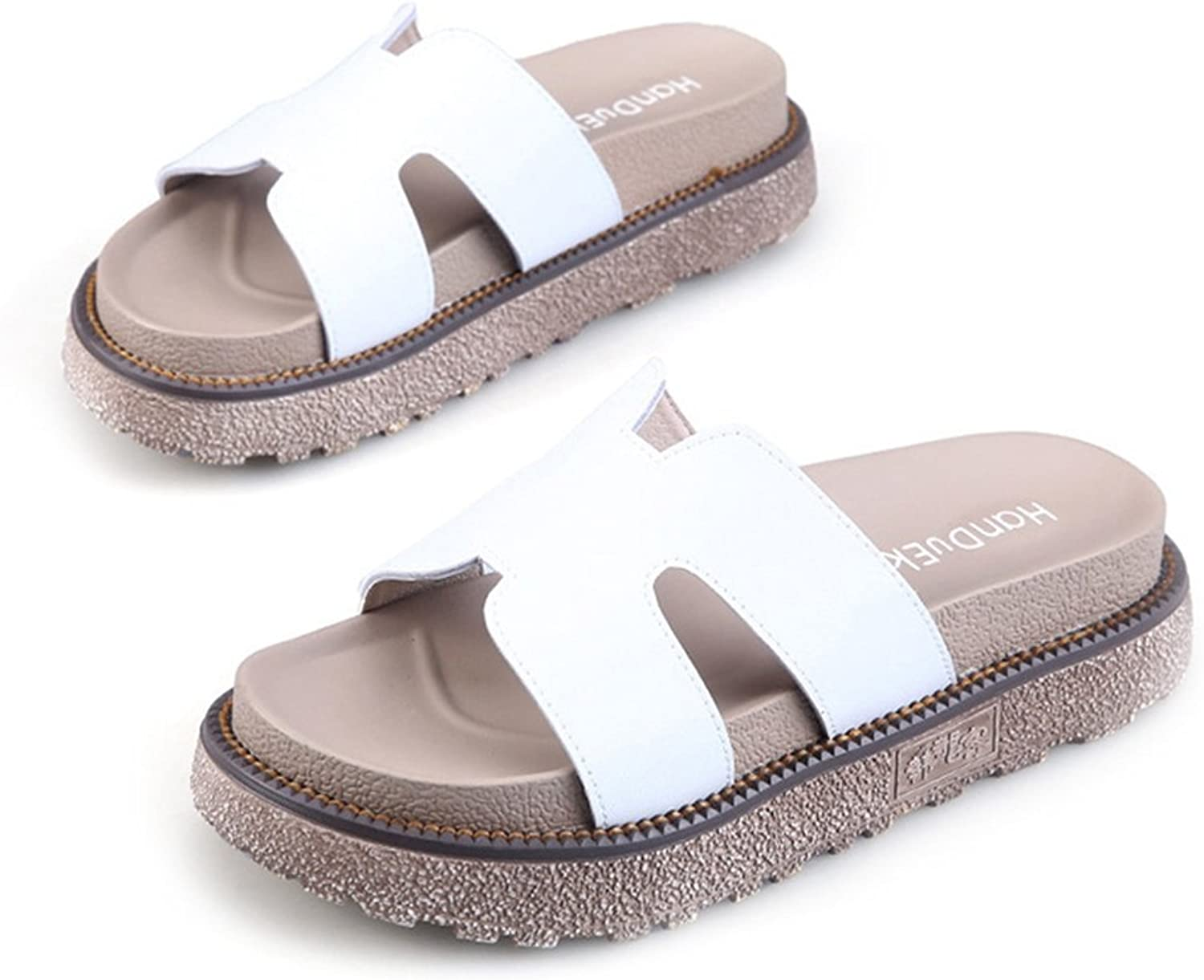 CYBLING Women's Platform Slide Sandals Slip on Flat Summer Beach Casual shoes with Notch Cut-Outs