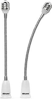DiCUNO E27 Base Socket 27.5CM Extensión, E27 a E27 Extensor de zócalo para lámpara, Adaptador de soporte de lámpara, Paquete de 2