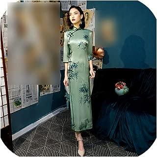 Hengheng-shop Women Chinese Traditional Dress Oblique Green Cheongsam Long Silk Qipao Green Clothing Qipao S 4XL 3XL