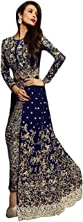 SHRI BALAJI SILK & COTTON SAREE EMPORIUM Women's Malaika Arora Neavy Blue Bollywood Indian Anarkali Salwar Kameez Suit Dup...