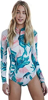Beachkini Women Zip Up Rash Guard 1 Piece Print Swimsuit Long Sleeve Swimwear