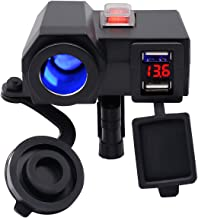 BlueFire 5V/2.1A Dual USB Charger Socket Waterproof Motorcycle Handlebar Clamp Power Adapter Charger USB Charging System with Cigarette Lighter Socket and Voltmeter for Phones/Tablets/GPS