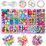 1140Pcs Flower Smiley Face Beads Polymer Clay Bead Kit Include y2k Mixed Fruit Spacer Trendy Beads...