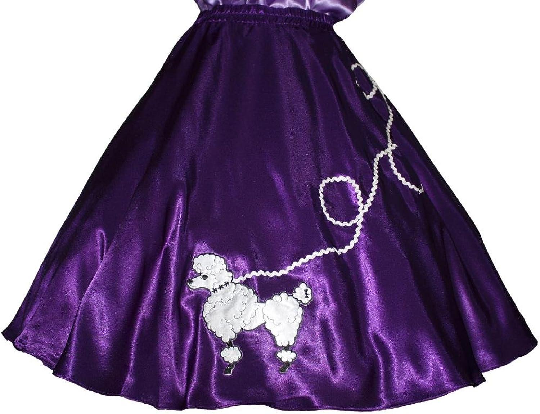 3 BIG NOTES Adult Purple Satin Poodle Skirt