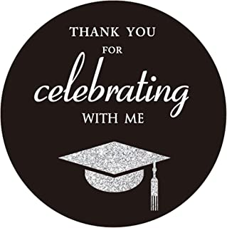 MAGJUCHE Silver Class of 2019 Graduation Thank You Stickers, Congrats Grad Party Circle Favor Sticker Labels, 40-Pack, 2