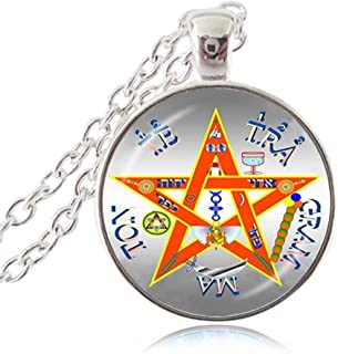 LUOR Trade Co.,Ltd Silver Tetragrammaton Necklace, Name of God Blessing Pendant, Wicca Pentagram Jewelry, Pentacle Sweater Necklace, Jacket Accessories