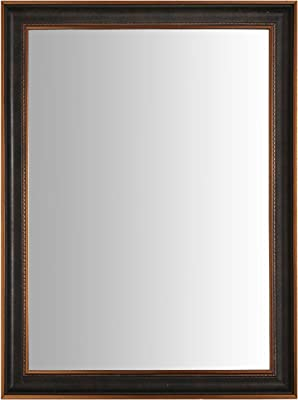 999Store Fiber Framed Decorative Wall Mirror or Bathroom Mirror Black Golden (24x18 Inches)