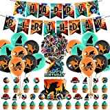 100 Pcs Godzilla Party Decorations, King of the Monsters Themed Birthday Party Supplies for Kids Adults with Happy Birthday Banner Cake Topper Cupcake Toppers Balloons Stickers