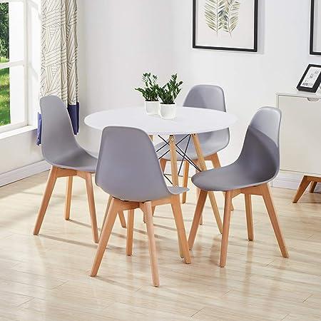 GOLDFAN Table avec 4 Chaises Table Ronde Salle Manger Blance Table en Bois Table Cuisine Chaise de Salle à Manger Gris