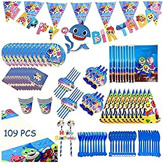 Rayking Baby Shark Party Supplies Set - 109 Pcs Baby Shark Themed Birthday Decorations Includes Disposable Tableware Kit B...