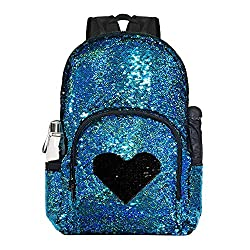 Blue/Black Sequin Elementary Book Backpack