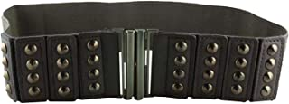 CHOCOLATE PICKLE New Ladies Studded Interlock Buckle Pu Leather Wide Elastic Waist Belts One Size