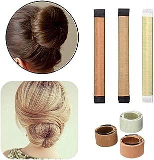 3 Pack Magic Hair Styling Disk Donut Bun Maker Former Foam French Twist Hairstyle Clip Fashion DIY Doughnuts Hair Bun Making Curler Roller Tool, Hair Band Accessory(Coffee, Light Brown, Beige)