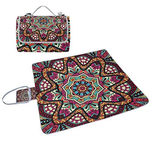 Coosun Picknickdecke, abstraktes Tribal-Muster, handliche Matte, schimmelresistent und wasserdicht, Camping-Matte für Picknicks, Strand, Wandern, Reisen, Reisen und Ausflüge