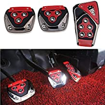 Oshotto 3 Pcs Non-Slip Manual Car Pedals kit Pad Covers Set for Maruti Gypsy (Red)