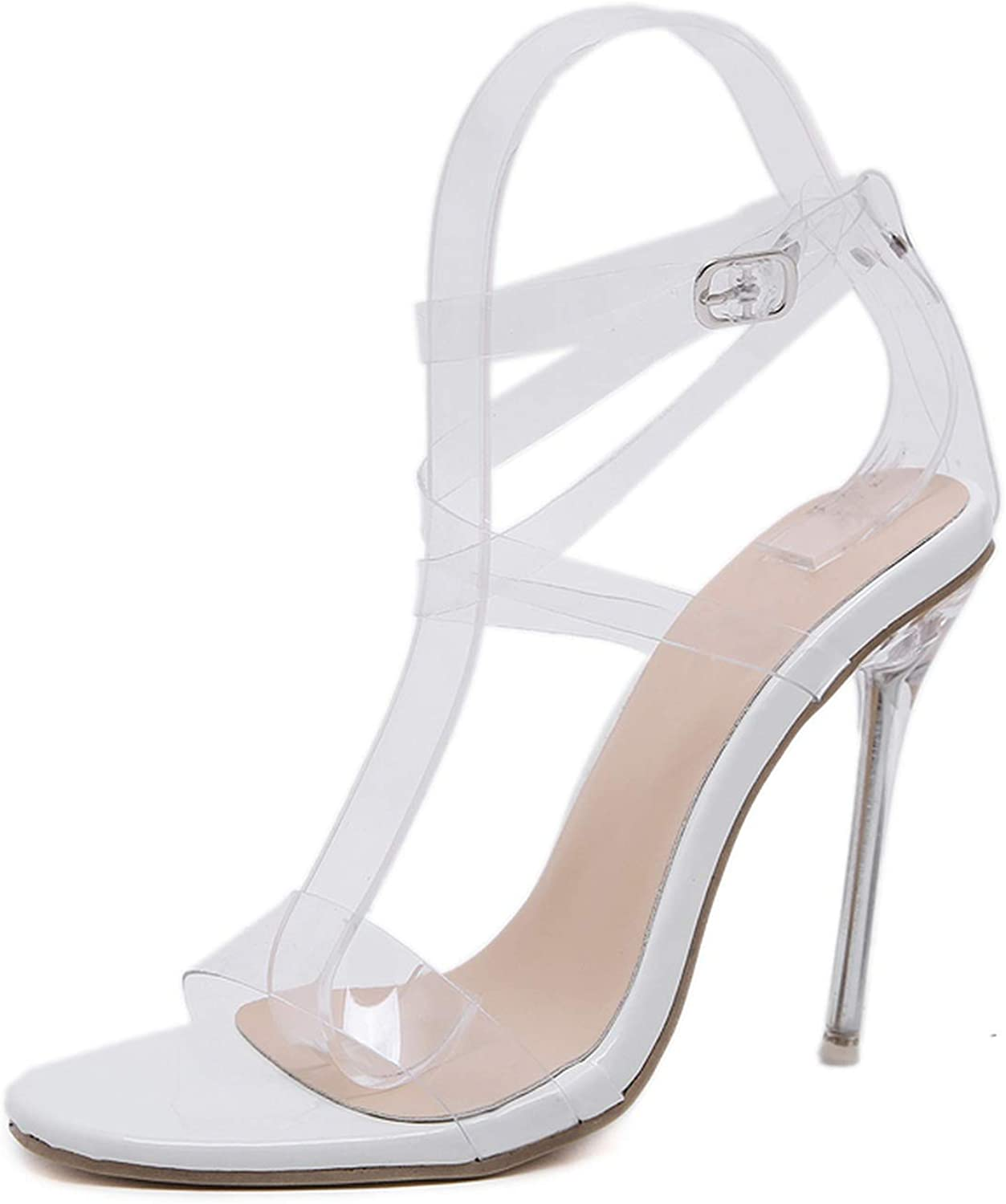 PVC Jelly Sandals Crystal Open Toed Women Transparent Thin Heels Sandals,White,5