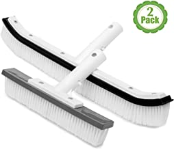 The Lazy Sharks Pool Cleaning Brush, Set of Two, Swimming Pool Brush Head for Cleaning Pool Walls, Cleaning Scrub Brush, Sizes 18 and 10 Inches