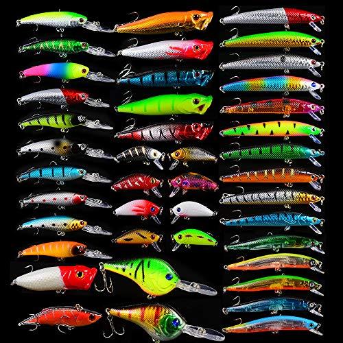 JasCherry 42 Piezas/Juego Luya Señuelos de Pesca Minnow Popper VIB Lápiz Cebos Duros Kit de Señuelos de Ojos 3D Adecuado para Agua Dulce y Pesca en el Mar Embalaje de Bolsa OPP