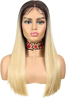 NOBLE Lace Front Wigs Ombre Blonde Yaki Straight Long Hair Wigs Middle Part Colorful Synthetic Lace Front Wigs Heat Resist...
