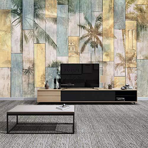 Houten Board Tropische Kokosnoot Plank Tropische Kokosnoot Grove Palm Tree Woonkamer TV Achtergrond Behang Naadloos Mural Wallpaper Grijs Muursticker Border Zelfklevende Baksteen Bad (W)400cm×(h)280cm