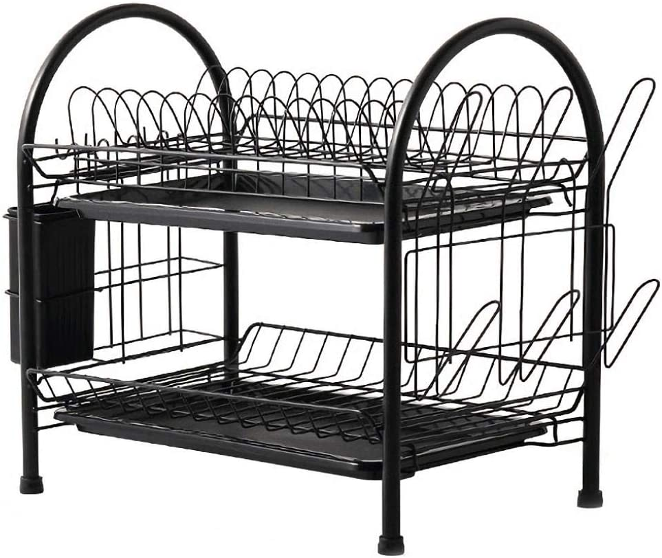 2 Tier Stainless Steel Foldable Dish Reservation Columbus Mall 53x2 with Drip Drainer Tray