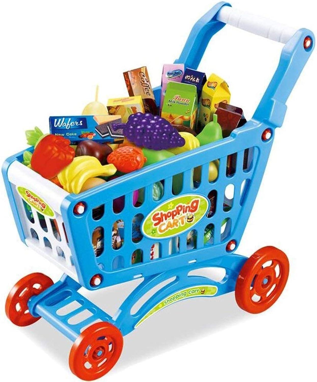Baby Kinder Simulation Supermarkt Einkaufswagen Einkaufswagen und Obst Sets Ablagekorb Spielzeug Früherziehung Spielzeug (color   PINK)