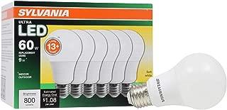 SYLVANIA Ultra 6-Pack 9W (60 Watt Equivalent) Soft WhiteDimmable A19 LED Light Fixture Light Bulbs