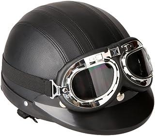 comprar comparacion KKmoon Casco Abierto Protección para Motocicleta Scooter Bicicleta 54-60cm Ajustable con Visera UV Gafas Bufanda
