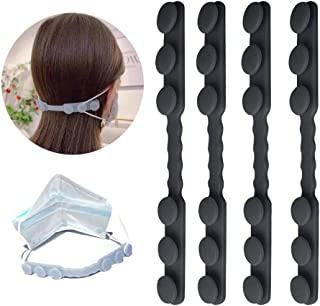 FUGKUOM Mask Hook Anti-Tightening Ear Protector Decompression Holder Hook Ear Strap Accessories Ear Grips Extension Mask Buckle Ear Pain Relieved,for Adults and Children (Black 4pcs)