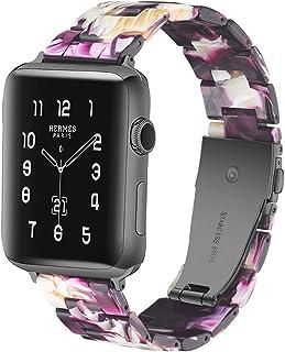 Sundaree Compatible with Apple Watch バンド 38&40mm、ファッションな樹脂製ブレスレット 時計バンドfor iWatchバンド 、スポーツ&エディション バンド メタルステンレススチールバックル for アップルウォッチ シリーズ5/4/3/2/1 (パープル紫色 38mm)