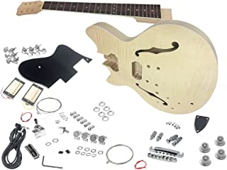 Solo ES Style DIY Guitar Kit, Flamed Maple Top, Left Handed