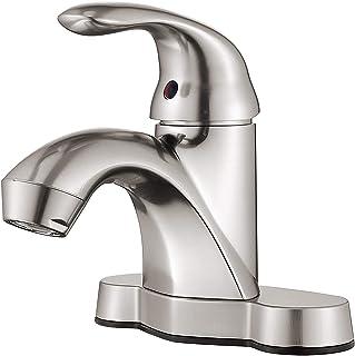 HOMELODY Bathroom Faucet One-Handle Bathroom Faucet Brushed Nickel, Low Arc Single Handle 4 inch Centerset Bathroom Sink F...
