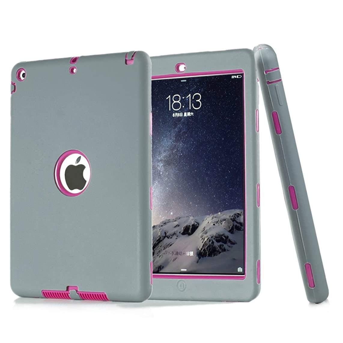 iPad Air Case, iPad 5 Case,UZER Heavy Duty Shockproof Anti-Slip Silicone High Impact Resistant Hybrid Three Layer Hard PC+Silicone Armor Protective Case Cover for iPad Air/iPAd 5 2013 Old Model