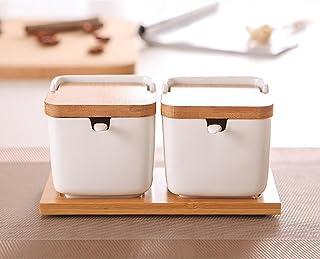 Saleros y pimenteros caja de condimentos cerámica de cocina Recipiente de aderezo Botellas de condimento Sartenes de condimento Sartenes de salado Tanque de sal Azucarero Pimientas Tres cucharas de un