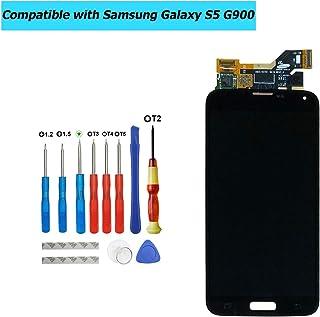 Upplus - Pantalla Super AMOLED de Repuesto Compatible con Samsung Galaxy S5 SM-G900F G900F GH97-15959B, Pantalla LCD táctil con Kit de Herramientas (Negro)