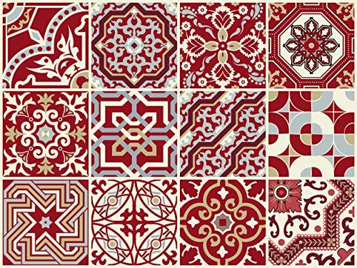 """The Nisha 12 PC (15 X 15) """"Peel and Stick"""" Adesivo per Muri in Vinile Piastrella, Decals per la Cucina & Bagno in Stile Art Eclectic, Adesivi muro murali, 15x15 cm, Marrone Rosso"""