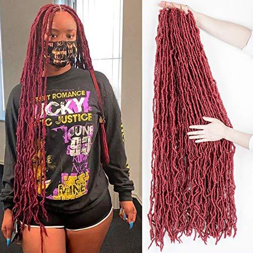 36 Inch New Faux Locs Crochet Hair Soft Locs Crochet Braids Hair 4 Packs/lot 180g Red Super Long Goddess Locs Dreadlocs Synthetic Hair Extend Pre Looped Burgundy Soft Locs Braiding Hair for Women (36 Inch, BUG#)