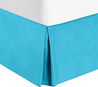 Nestl Bedding Bed Skirt - Soft Double Brushed Premium Microfiber Dust Ruffle - Luxury Pleated Dust Ruffle, Hotel Quality Sleek Modern Bed Skirt, Easy Fit with 14 in Tailored Drop, Full, Beach Blue