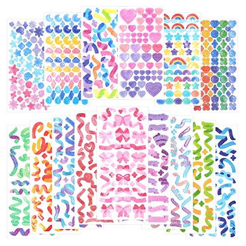 15 hojas de pegatinas de álbum de recortes pegatinas de cinta láser pegatina de confeti pegatina de decoración brillante pegatina de foto brillante conor para diario álbum (Rainbow)