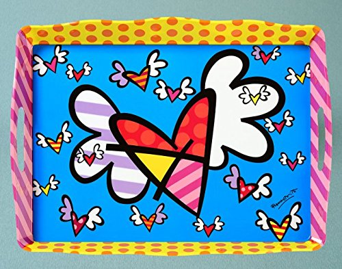 Romero Britto Flying Hearts Melamine Tray by Romero Britto