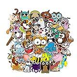 Pegatinas para niños, pegatinas impermeables, bonitos patrones de animales, animales de aprendizaje en el juego, para auto, bicicleta, moto, guitarra, portátiles con caja de almacenamiento 50 piezas